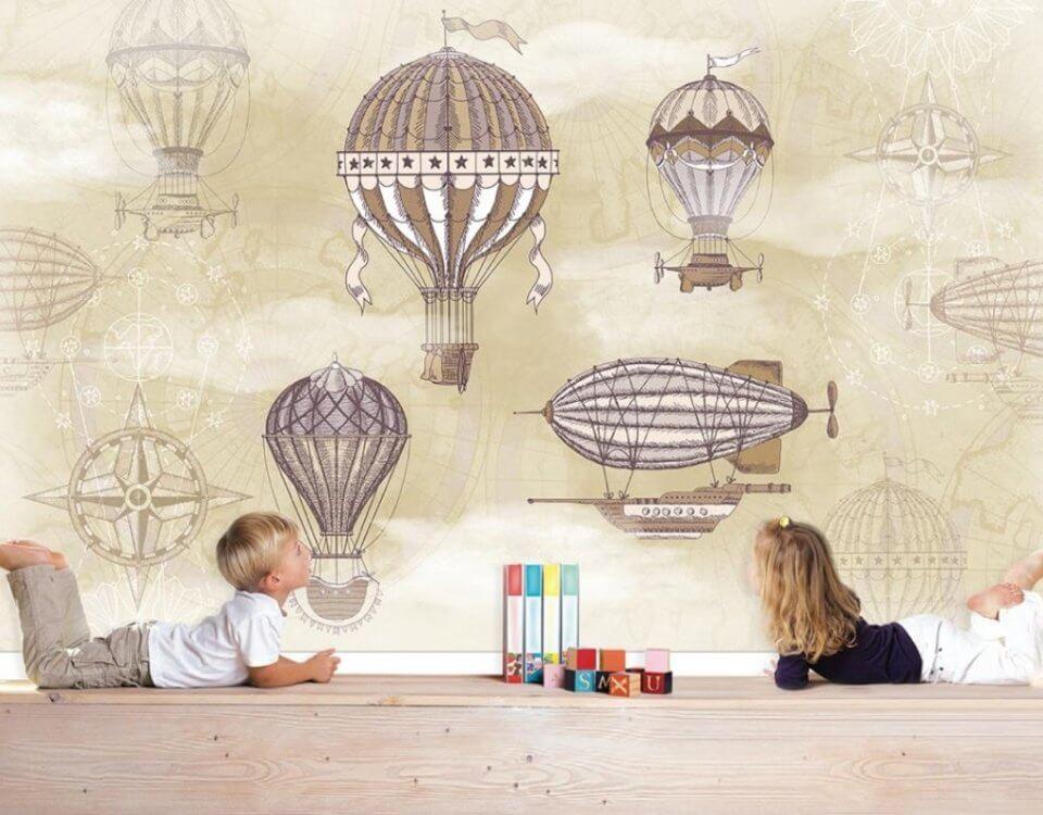 детские обои на стену воздушные шары дирижабль в небе
