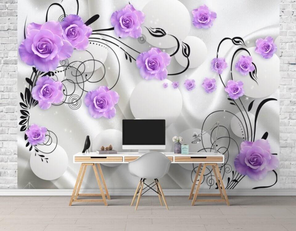 нежные цветы обои на стену
