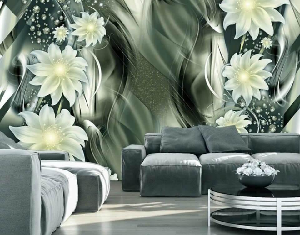 обои белые цветы на зеленом фоне купить в дизайн студии