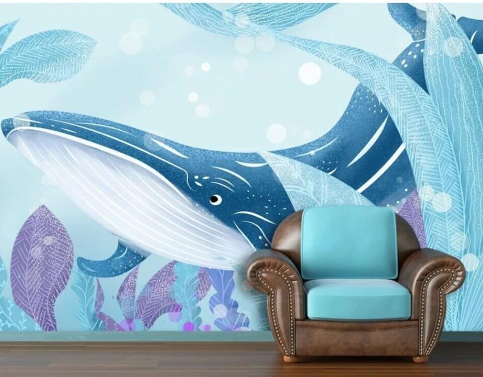 обои синий кит детские обли с китами купить