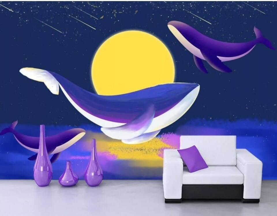 обои киты. купить обои фрески