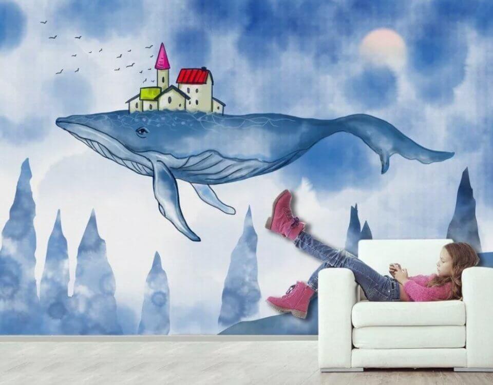 обои кит с домиком на спине фотообои киты большая коллекция изображений для интерьера