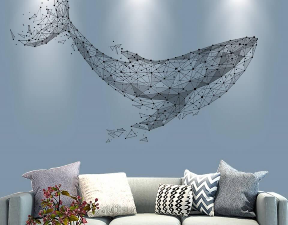 декоративные обои для стен кит на сером фоне фотообои ЭКО