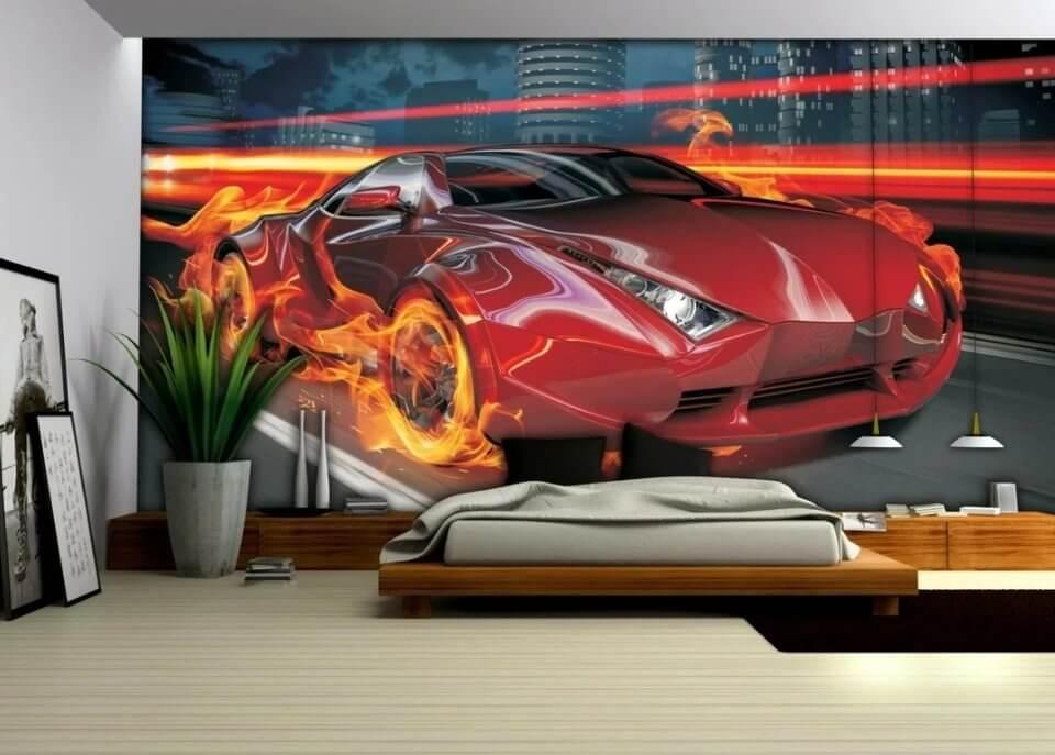 фотообои красная спортивная машина необычные обои с машинами