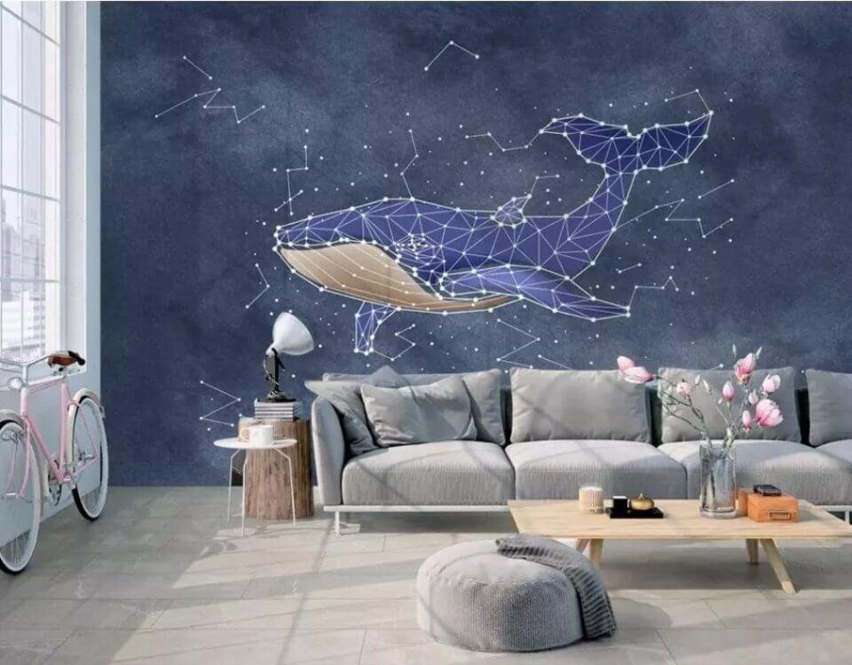 фотообои кит синий фон необычные обои с китом