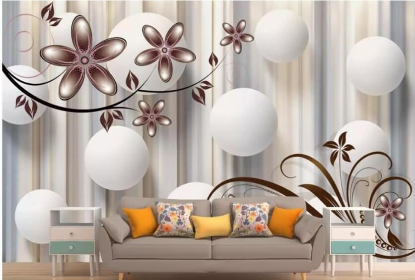 обои белые шары с цветами для гостиной бесшовные фрески