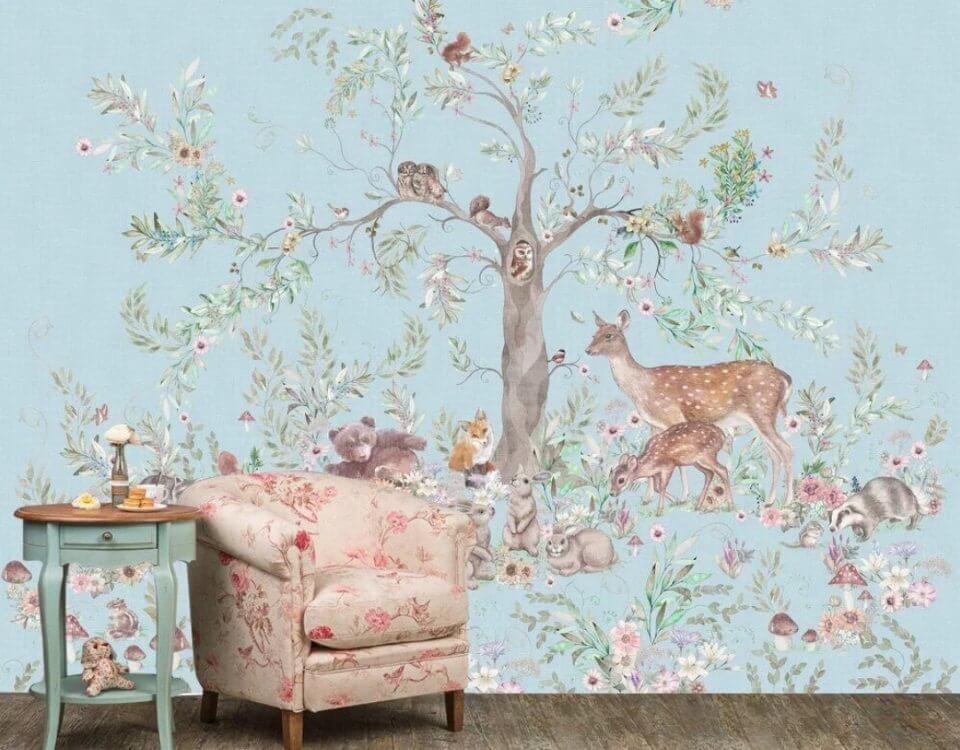 фотообои лес фреска в детскую на голубом фоне