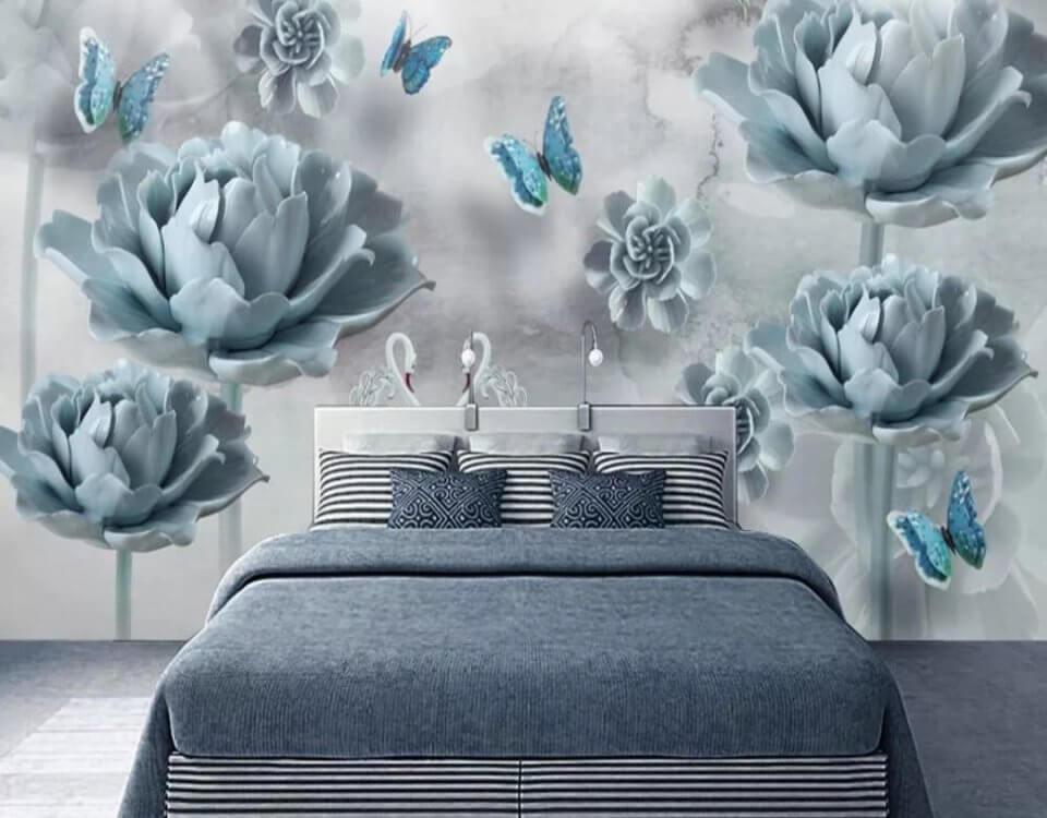 необычные фотообои бутоны цветов на стене