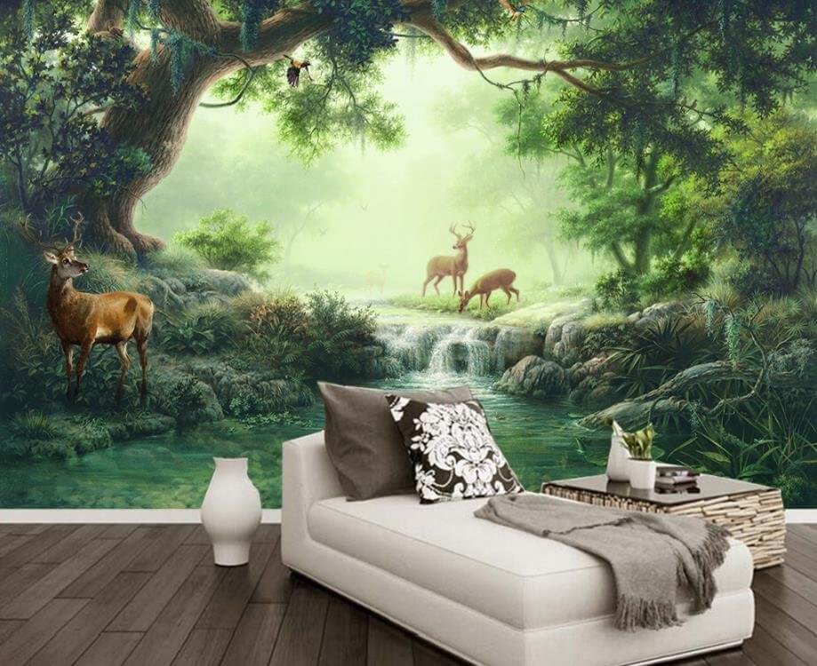сказочные детские обои зеленый лес осени на опушке