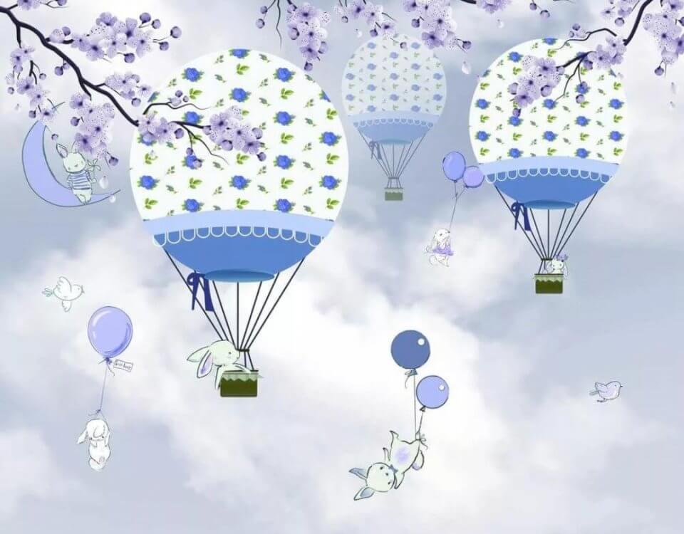 воздушные шары с зайчиками обои синие шары ветки и зайчики