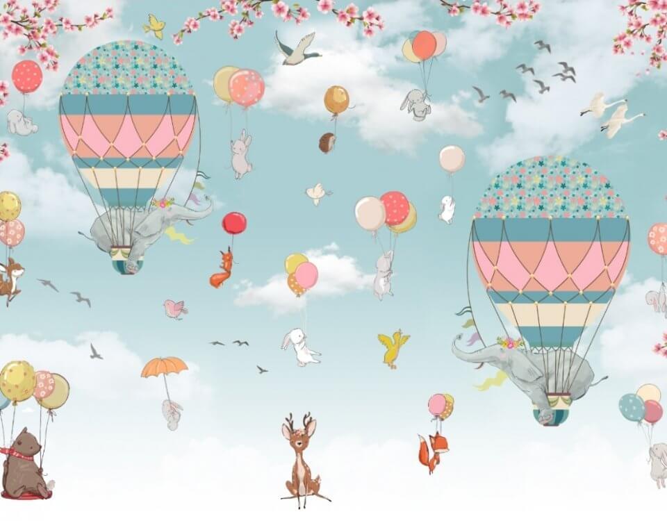 фотообои зверята на воздушных шарах. детские фотообои зверята и воздушные шары