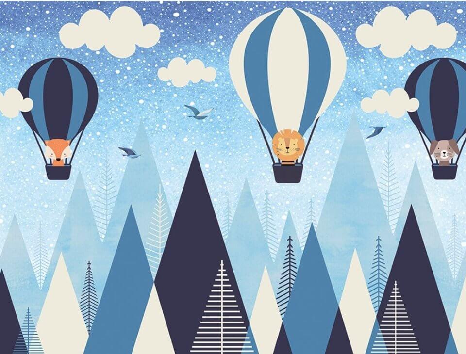 фотообои горы и воздушные шары. необычные фотообои горы в детскую - только латексная печа�