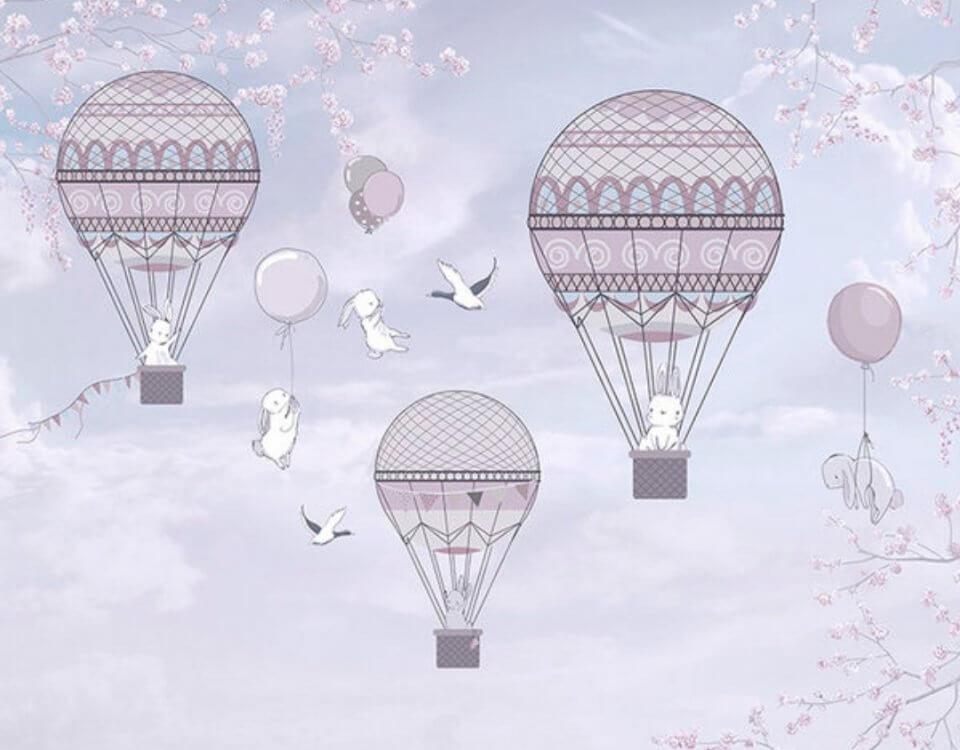 детские дирижабли с зайцами летящие шары. купить детские фотообои с летающими шарами