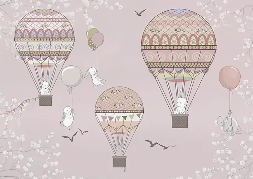 обои летающие шары с зайцами для детей