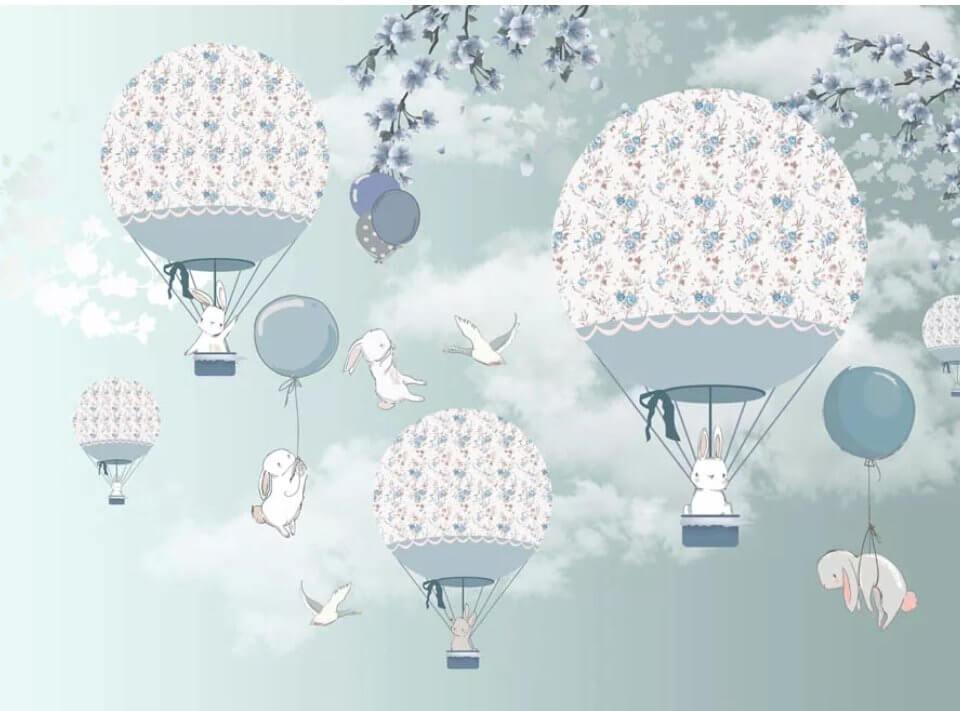 фотообои воздушные шары с зайцами. купить фотообои в детскую