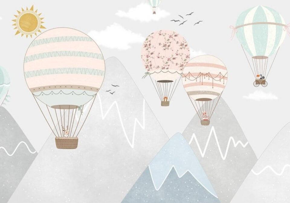 фотообои горы и летящие шары. фотообои для детей на флизелине