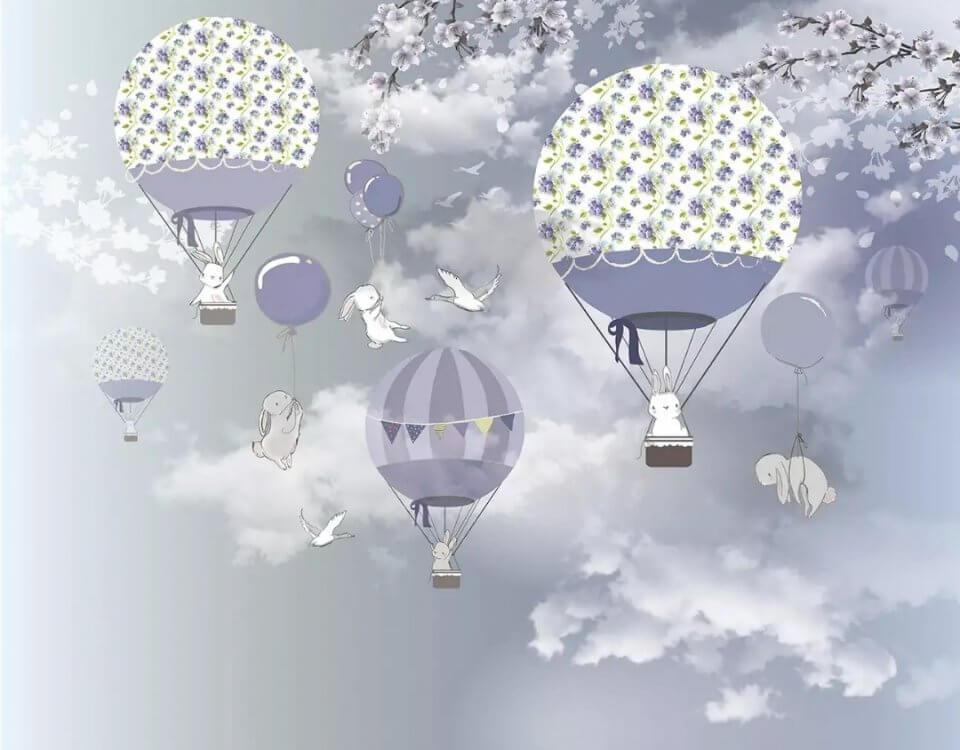 фотообои летающие воздушные шары. купить обои в детскую на флизелиновом материале