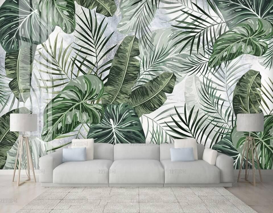 фотообои пальмовые листья на всей стене