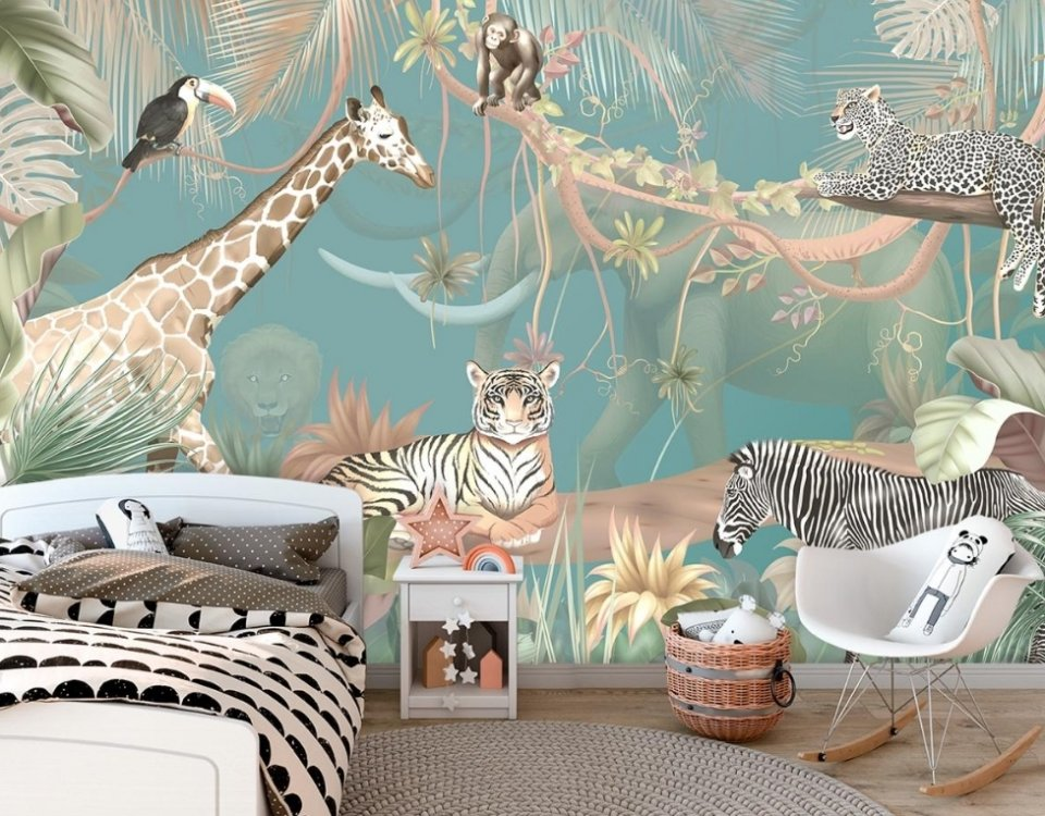 джунгли с животными необычные принты на стену для детских комнат яркий стильные обои