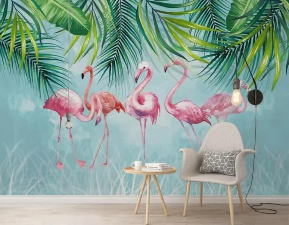 фламинго розовые птицы пальмовые ветви свисающие вниз яркие обои
