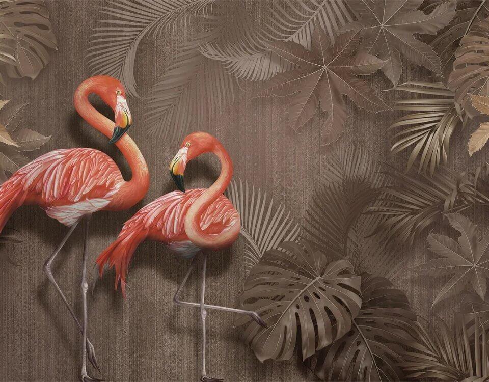 розовые фламинго на коричневом фоне пальмовые листья крупные обои