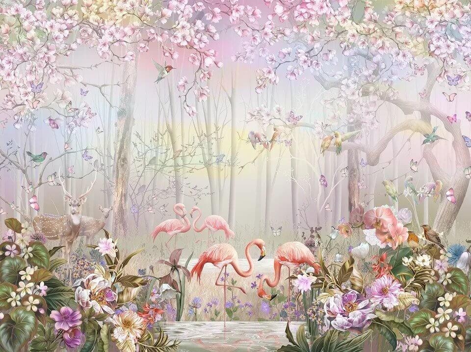 фламинго розовые птицы цветы обои на стену