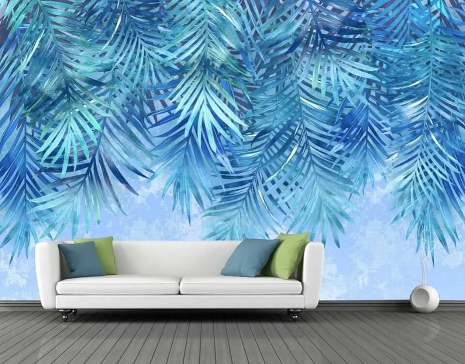 ветви пальмы синий фон ветви пальмовые красивые бесшовные обои на стену
