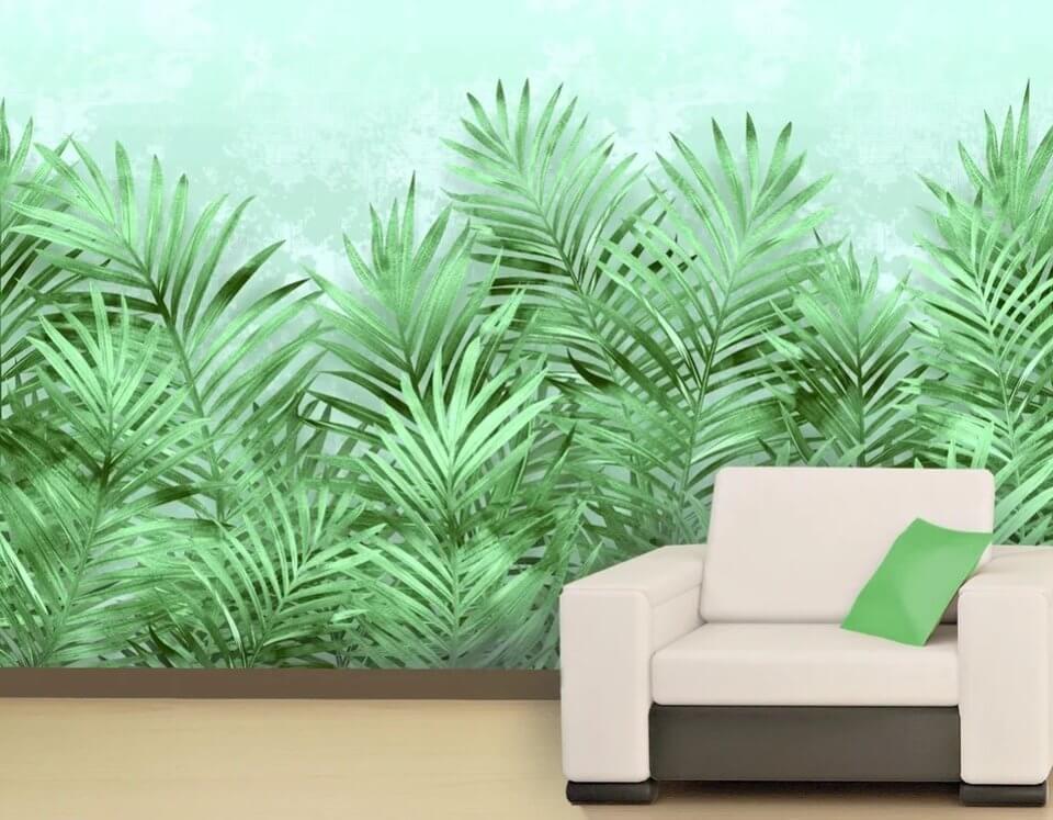 в гостиную ветви яркие обои зеленый фон