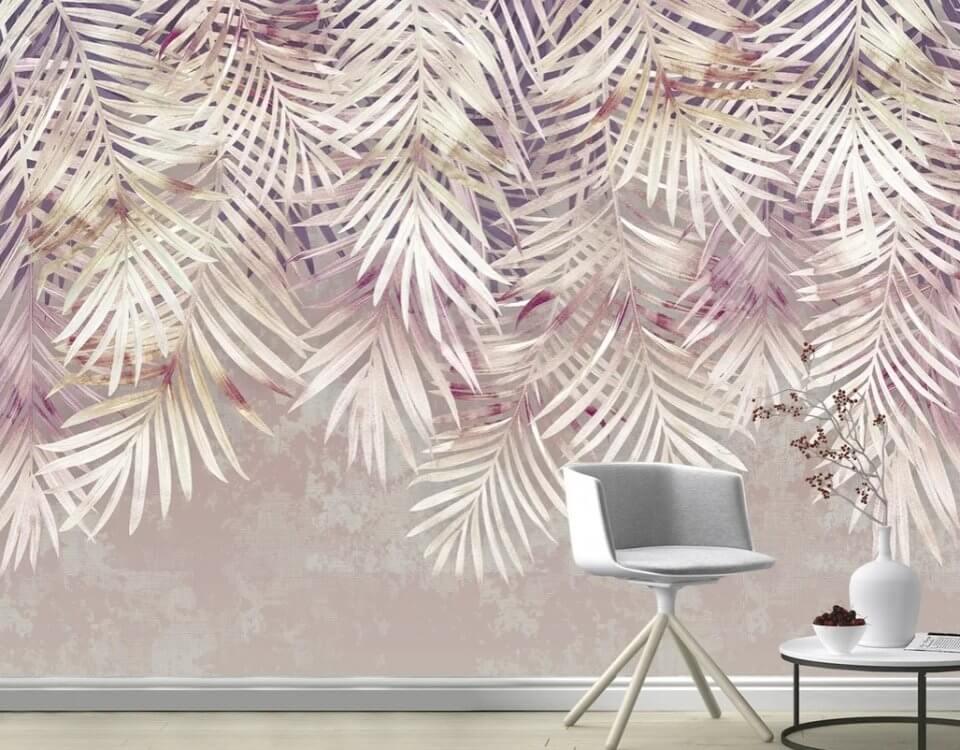 пальмовые ветки на обоях для стен. пальмовые ветви свисающие вниз в светлых тонах