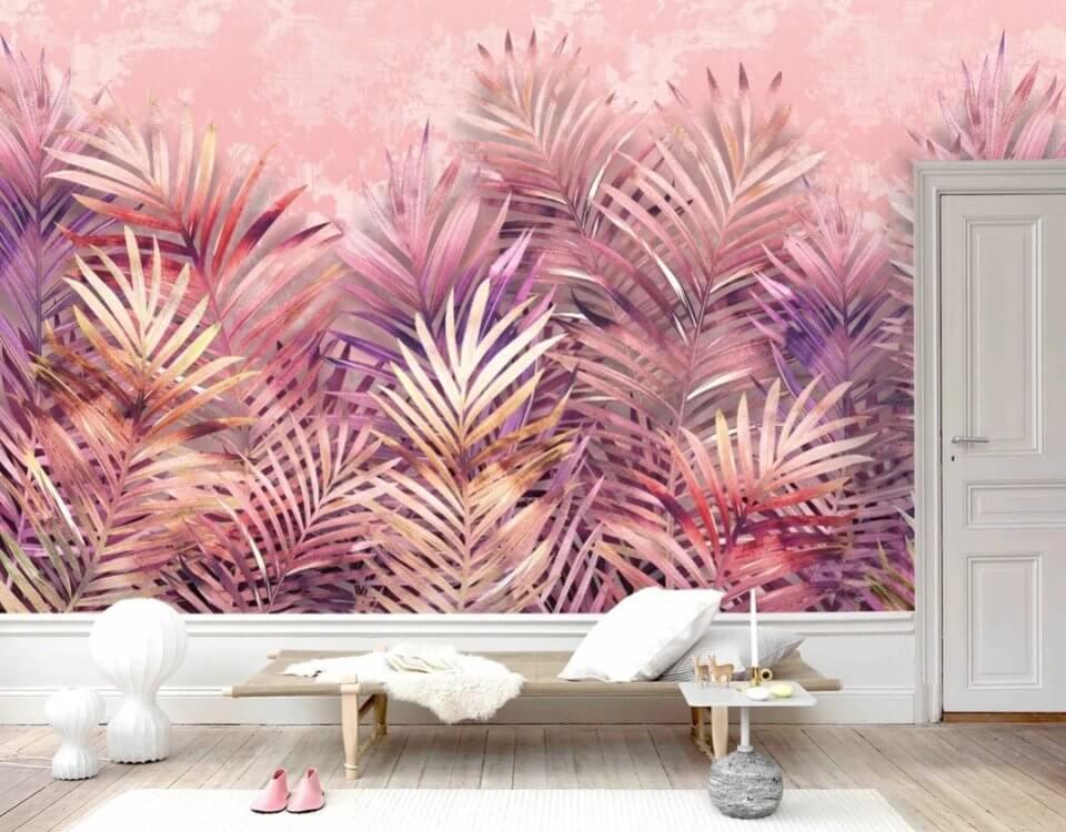 пальмовые листья на розовом фоне обои на стену тропики