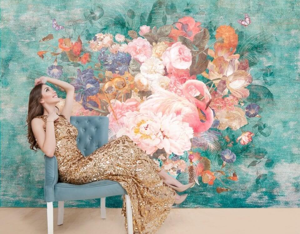 фреска на стену купить. фреска фламинго