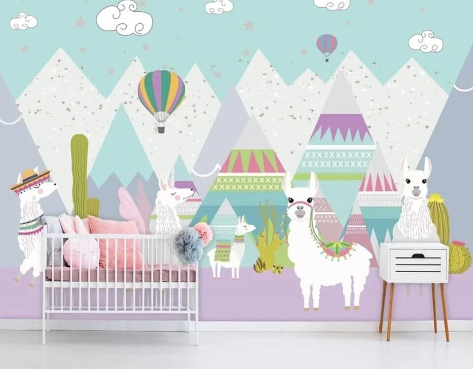 фотообои детские цветные. детские фотообои с животными и воздушными шарами