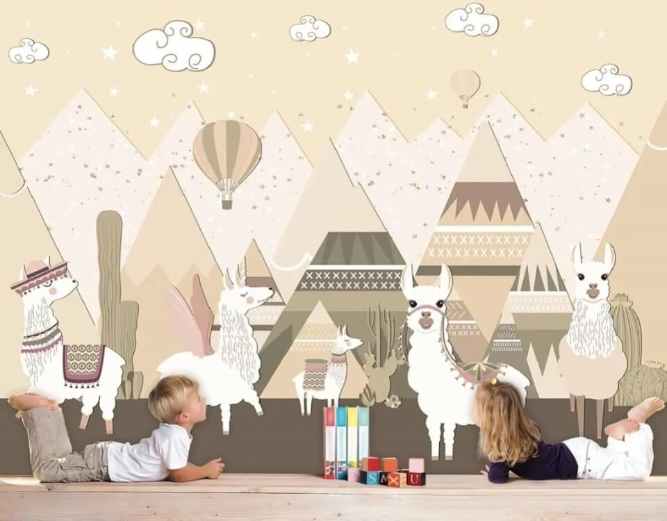 детские фотообои горы и животные. фотообои детские сказка