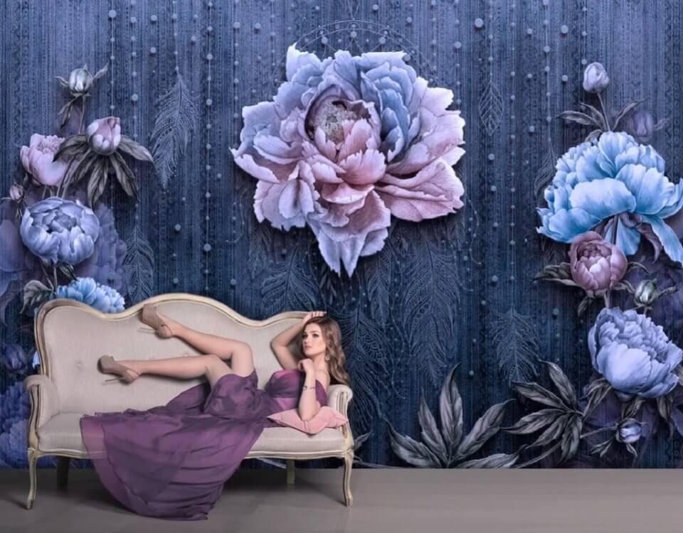фотообои флизелиновые цветы. фотообои на синем фоне