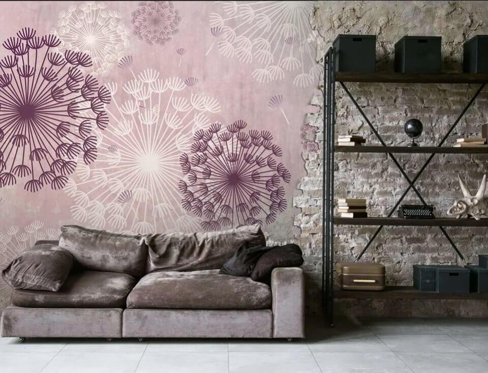 фотообои одуванчики на стену. фотообои +с одуванчиками в интерьере. фотообои розовые купить