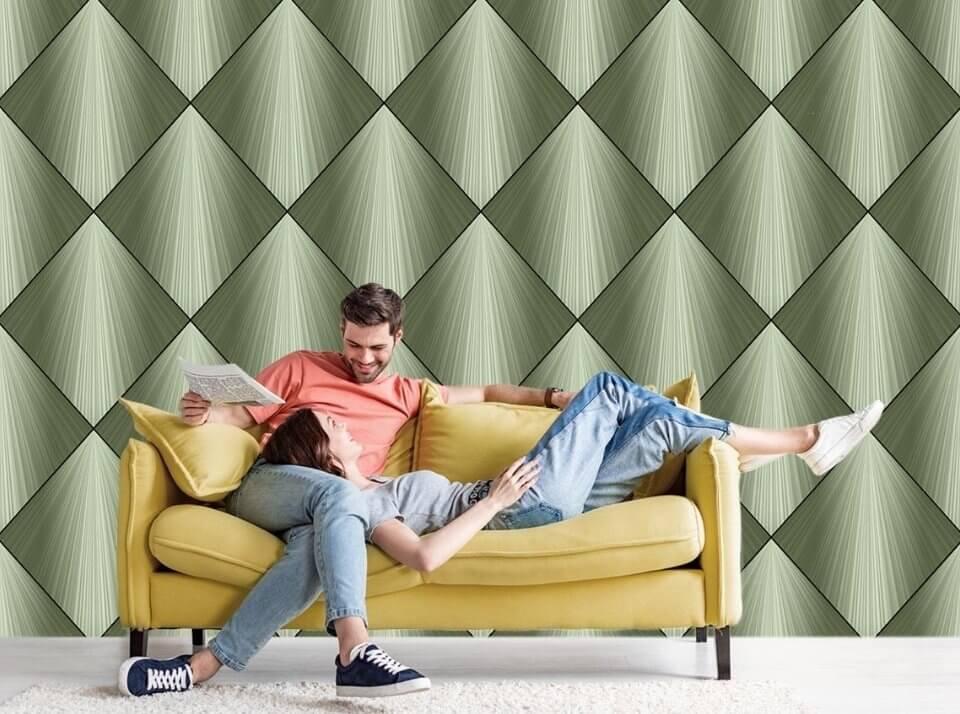 фрески в интерьере гостиной купить по своим размерам. фотообои зеленая геометрия
