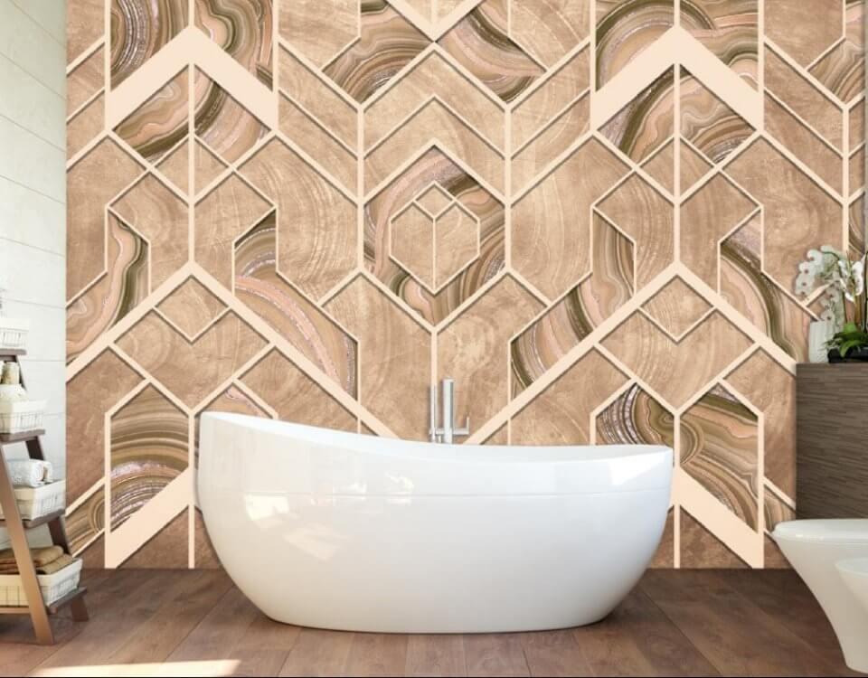 бежевая геометрия обои на стену фотообои. фотообои для ванной. фотообои для ванной комнаты влагостойкие. фотообои в ванную комнату
