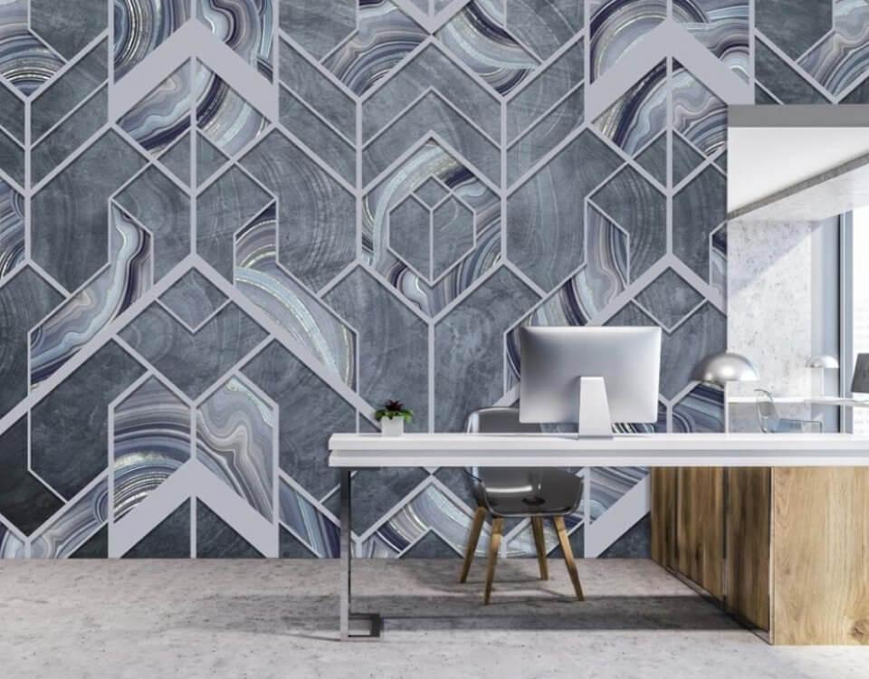 необычные обои геометрия. серые фотообои на стену кабинет руководителя