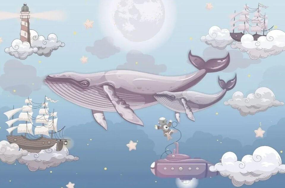обои с китами в детскую