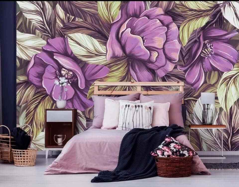 сиреневые цветы крупные на стену. фотообои сиреневые цветы 3д на стену фото. фотообои цветы