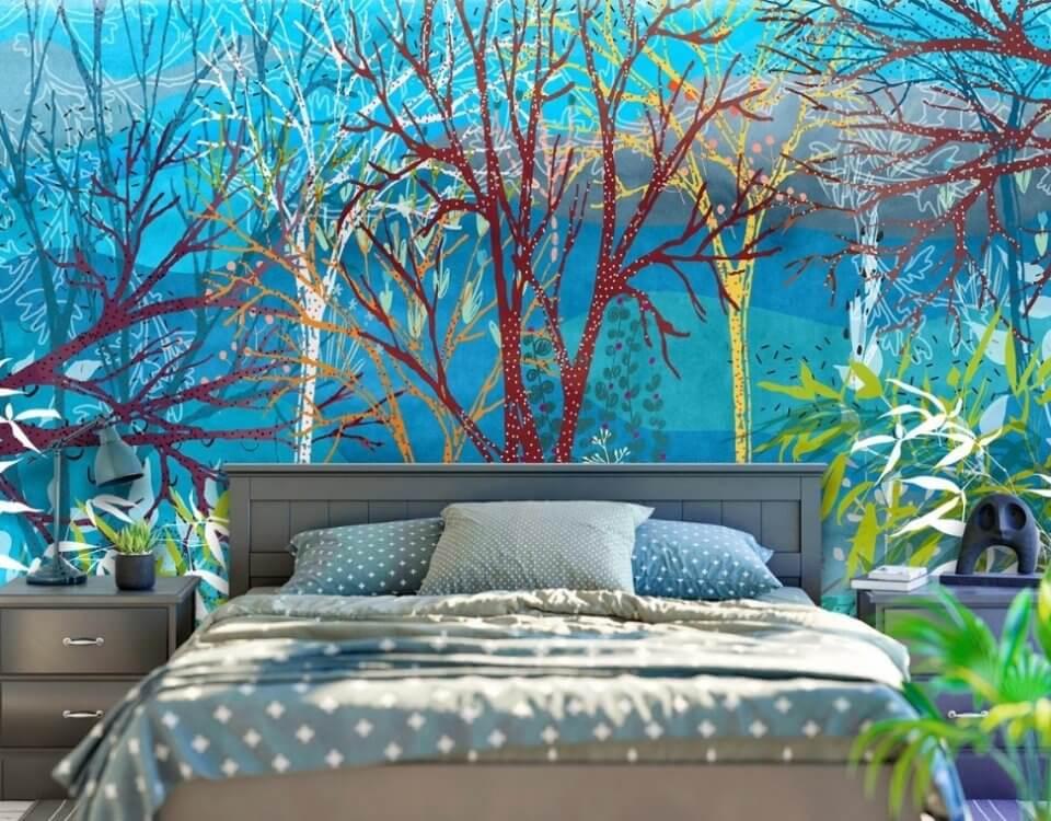 яркий лес на стену