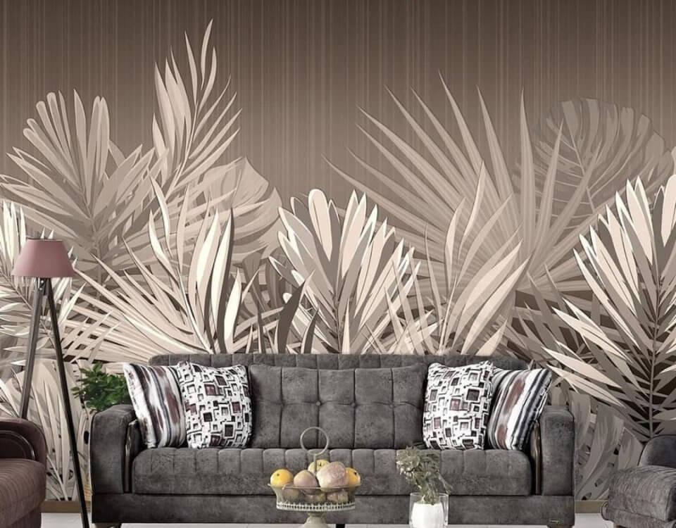 купить фотообои коричневые с тропическими листьями для акцентной стены обои