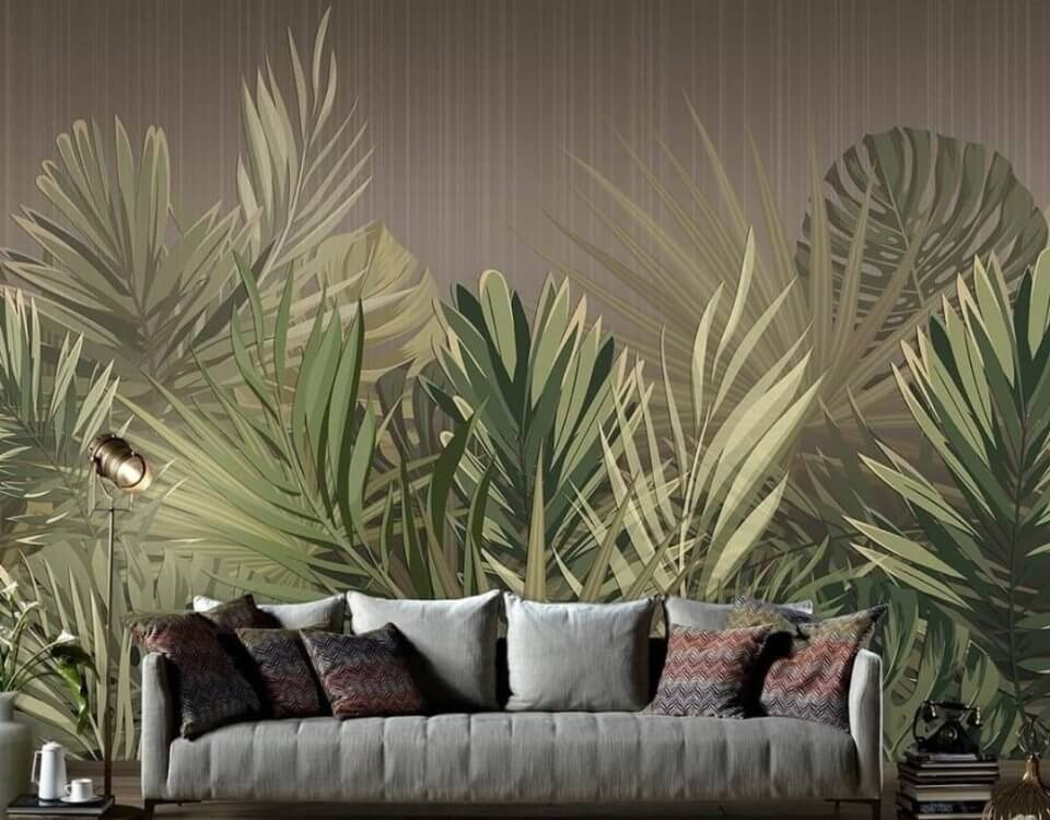 фотообои зеленый фон с зелеными пальмовыми листьями за кровать