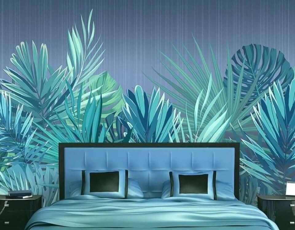 купить фотообои в спальню за спинку кровати. фотообои синие пальмовые листья от пола