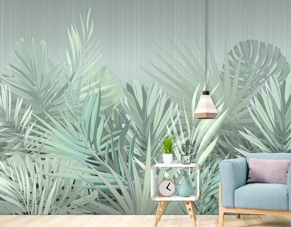 светлые пальмовые ветки от пола на стену светло зеленые для гостиной