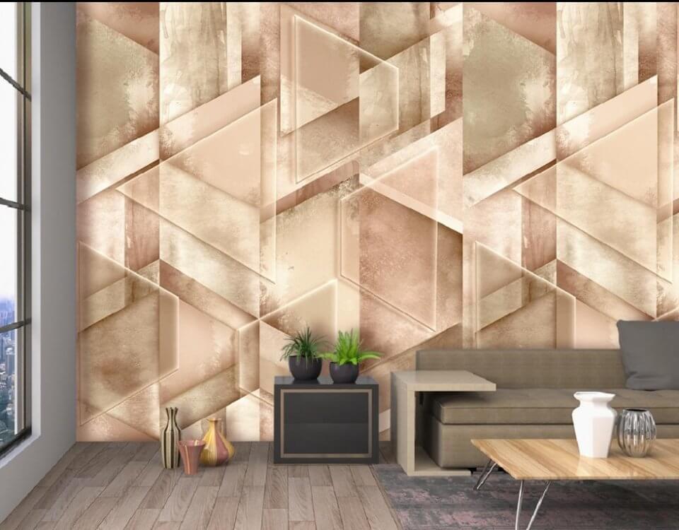 бежевый фон обои геометрия. фотообои в гостиной абстракция