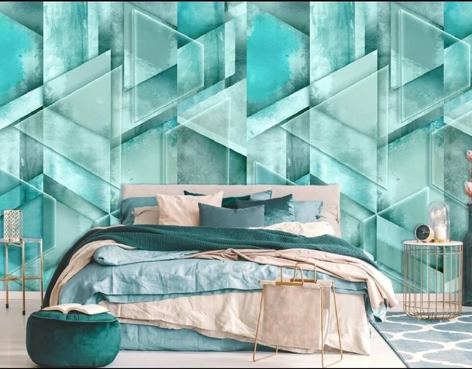 фотообои зеленый фон геометрия фотообои на стену для спальни
