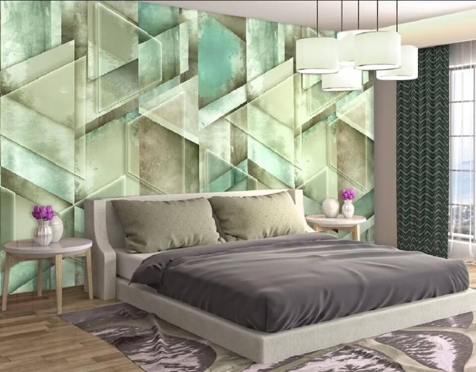 купить фреску на стену геометрия обои в спальню