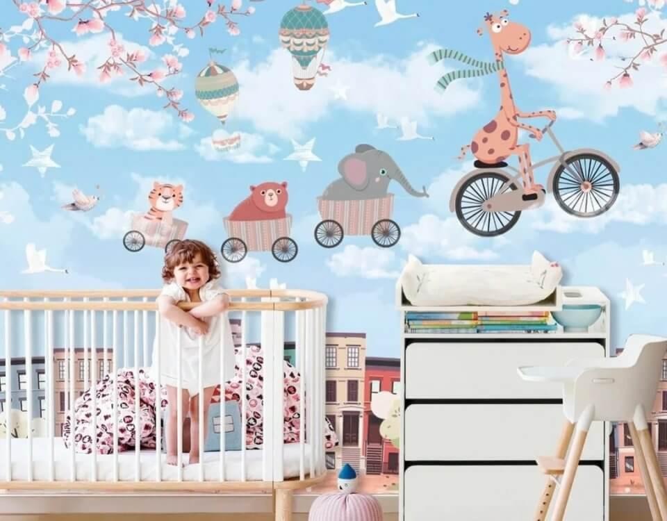 купить детские обои с жирафом на велосипеде в детскую фреска для детей купить. фотообои для детей. фотообои на флизелиновой основе в детскую. фотообои с жирафом в детскую