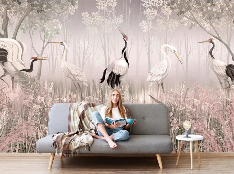 фотообои с птицам купить. птицы на фотообоях. необычные фотообои на стену.